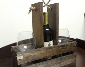 Wooden Wine carrier with twine handle and brass accents
