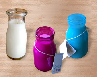 Natural Soy Wax Glass Container Candles - Medium Milk / Soda Bottle - Your choice of Colour and / or Fragrance