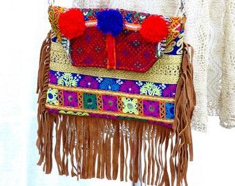 Boho chic handbag/ Ethnic handbag/ Embroidered bag/ Colorfull boho handbag