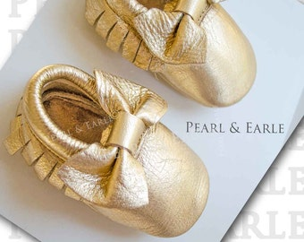 Holiday Baby Dress, Gold Baby Shoes, Gold Baby Moccasins, Christmas Baby Girl, Leather Moccasins, , Baby Shoes, Gold Moccasins,