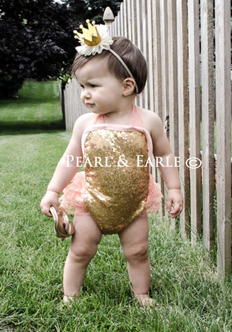 2644c14f57ca Gold Baby Romper Sequin Romper Baby Gold First Birthday