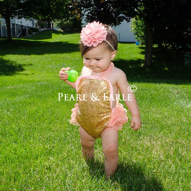 b8f5f1ba2e7e Pink Romper Gold Baby Romper Sequin Romper Baby Gold First