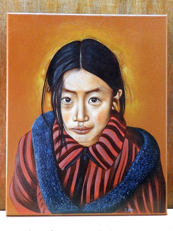Painted Copy Of The Photo Portrait By Steve McCurry Looking