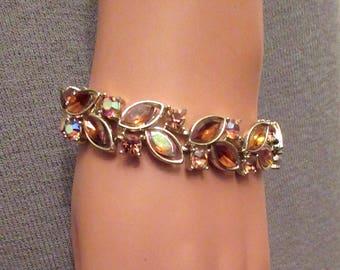 Lisner Amber Borealis MultiColor Crystal Bracelet Midcentury 1950's Superb!