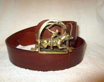 Ralph Lauren Polo cuir marron ceinture Vintage en laiton boucle cheval  Italie 30 superbe 486dacb6b0e6