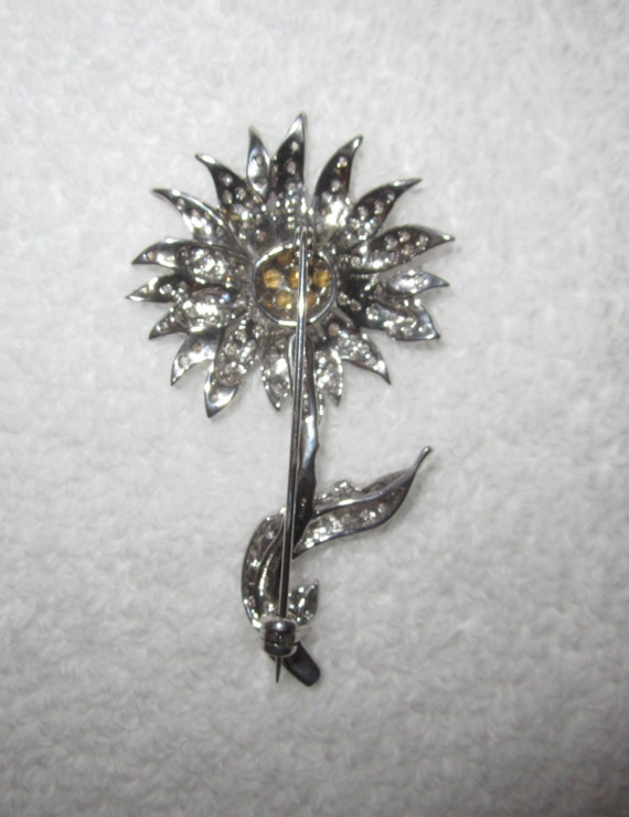 -Superb! MMA Flower Sterling Silver Crystal Pin Metropolitan Museum NY 18g