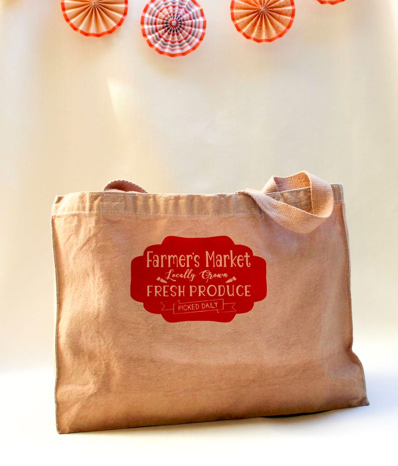 Farmers market grocery bag with ombre dyed look tote school book shopping craft sewing cotton brown paper bag like handmade original