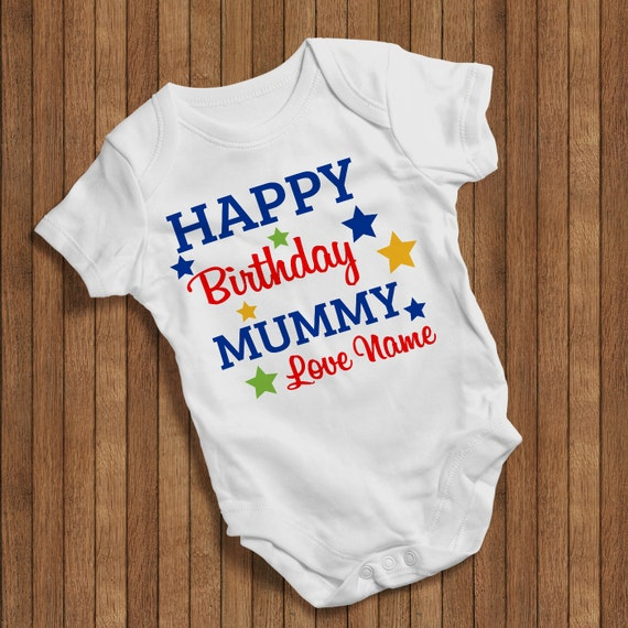 FUNNY BABY VEST HAPPY BIRTHDAY DADDY PERSONALISED WITH CHILD/'S NAME