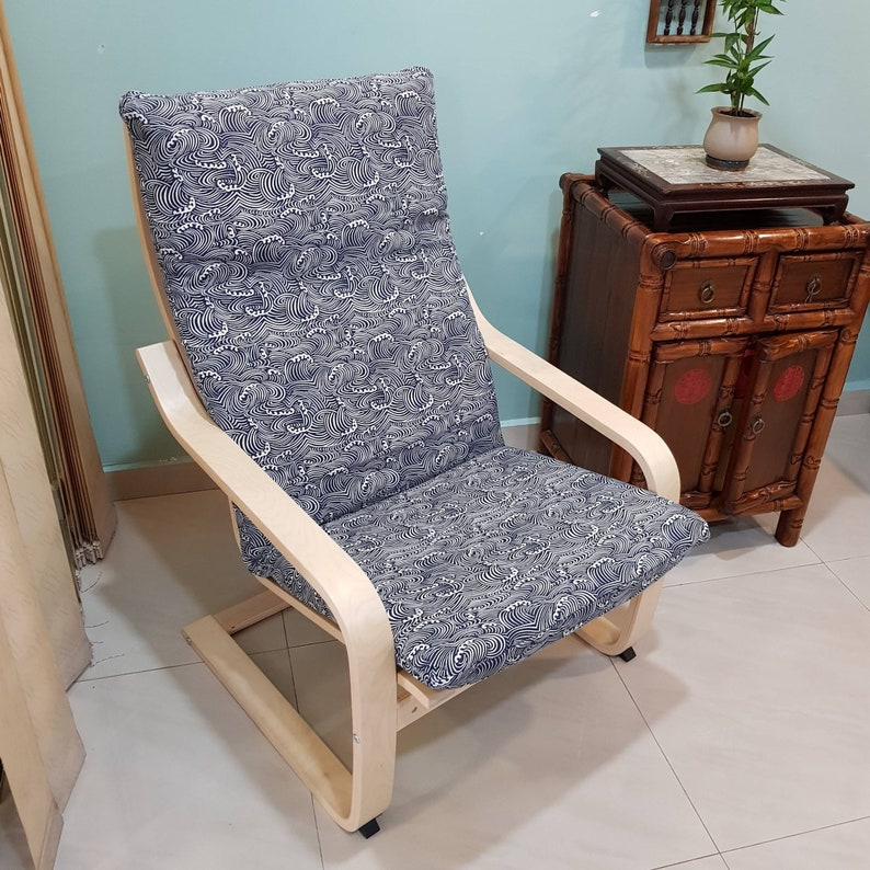 housse de coussin de chaise poang ikea côtière vague  etsy