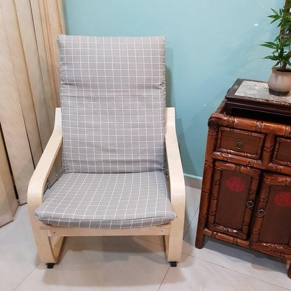 Ikea Poang Draaifauteuil.Ikea Poang Chair Cushion Cover Grey Checkered Print Etsy