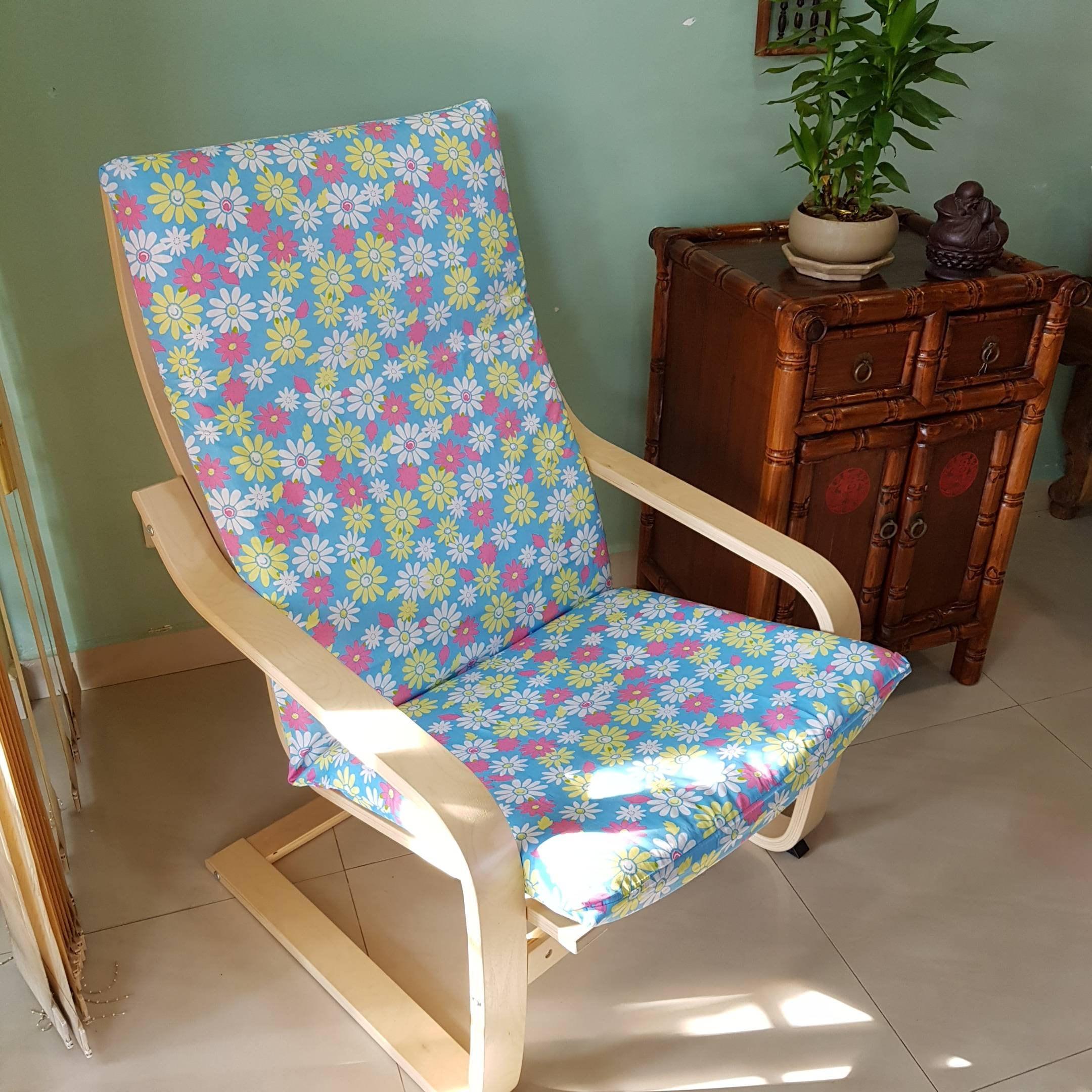 housse de coussin de chaise poang ikea  marguerite bleu