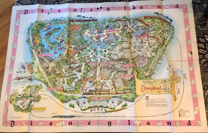Disneyland Usa Map.1961 Walt Disney Disneyland Map Anaheim California Etsy