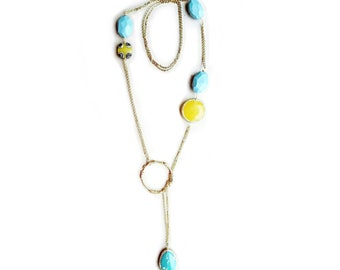 Beach necklace, turquoise necklace for women, yellow necklace, long lariat necklace, gold chain, birthday gift for girlfriend, gift for wife