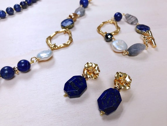 Set of Lapis Lazuli necklace and bracelet jewellery gift blue gemstone woman gift present for her birthday gift idea charm wife woman gf UK