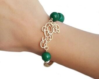 Statement bracelet for women, green bracelet, jade bracelet, gemstone bracelet, anniversary gift, jewelry gift for wife, birthday gift mom