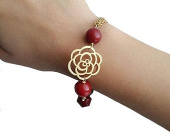 Red bead bracelet, ruby bracelet, gemstone bracelet, gold bracelet, trending jewelry, flower bracelet, gift for friend, girlfriend birthday