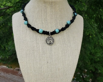 Natural Hemp Cord and Glass Bead Choker Necklace with Tree of Life Pendant Hippie Bohemian Tribal Celtic Style