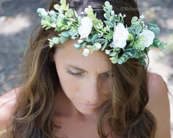 White flower crown, flower crown wedding, bridal floral crown, flower girl crown, ivory floral headband