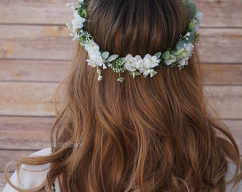 Baby's breath and greenery flower crown, greenery floral crown, bridal flower headpiece, white baby's breath crown
