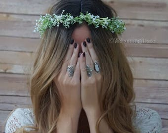Baby's breath crown, flower crown, bridal flower crown, greenery crown