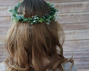 Baby's breath and greenery flower crown, greenery floral crown, bridal flower headpiece, bridesmaid baby's breath crown