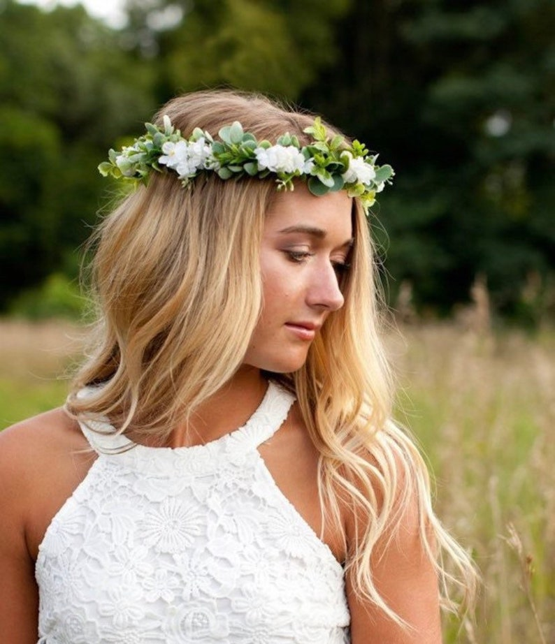 Flower Crown Wedding.Flower Crown Wedding Baby S Breath Look Crown White Floral Crown Flower Headband Bridal Headpiece