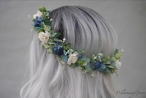 Navy flower crown blue and ivory flower crown bridal flower  fc98eef5288