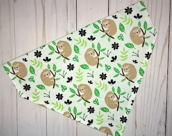 Sloth Dog Bandana, Over the Collar Dog Bandana, Dog Bandana, Pet Bandana