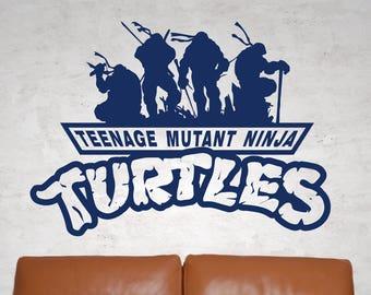 Ninja Turtles Logo Vinyl Decal Wall Sticker TMNT Art Superhero Decorations for Home Teen Kids Boys Room Bedroom Video Game Decor - GS30