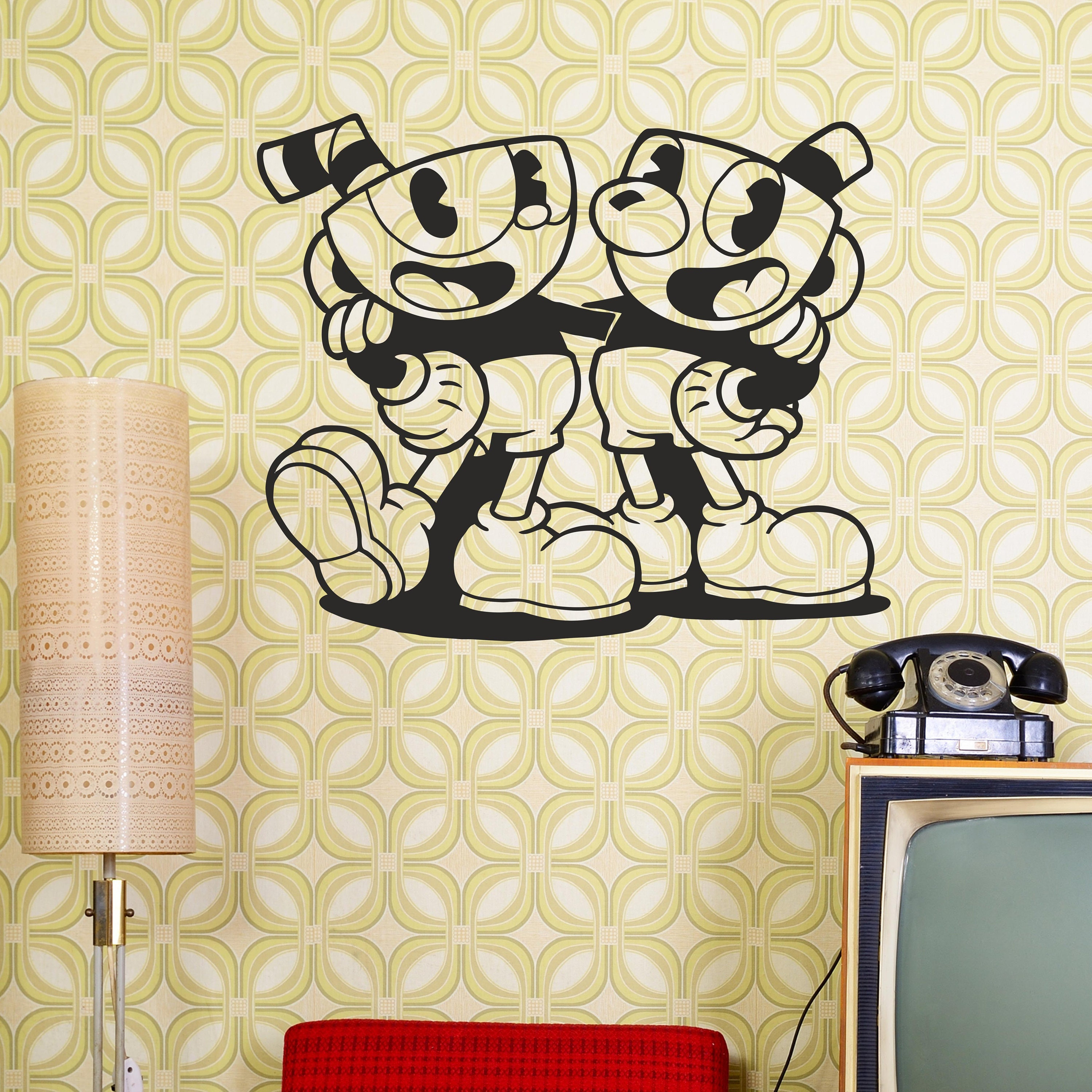 Cuphead And Mugman Cuphead Wall Decal Gamer Room Video Game | Etsy