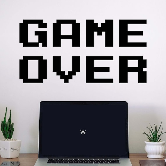 Game Over Wall Decal Room Home Decor Computer Video Game Etsy
