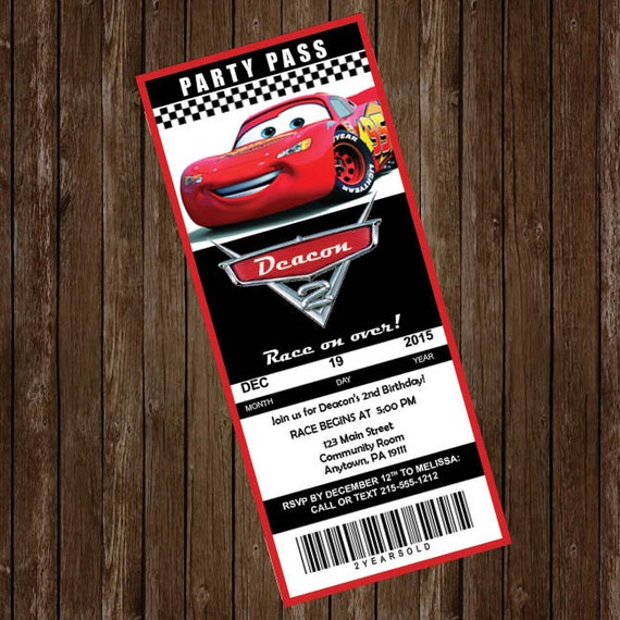 Cars 2nd Birthday Invitation Boys