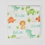 Dinosaur Custom Baby Name Blanket   Personalized Baby Boy Swaddle