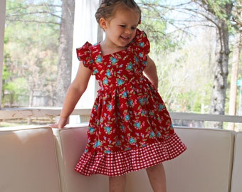 f6f04a34adb Tie Back Flutter Sleeve Red Gingham Pinafore Dress