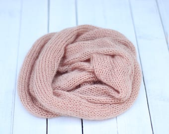 Knitted Thick Mohair Wrap, Brown Cappuccino Wrap, New Born Stretch Wrap