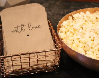 Wedding Popcorn Bags - With Love