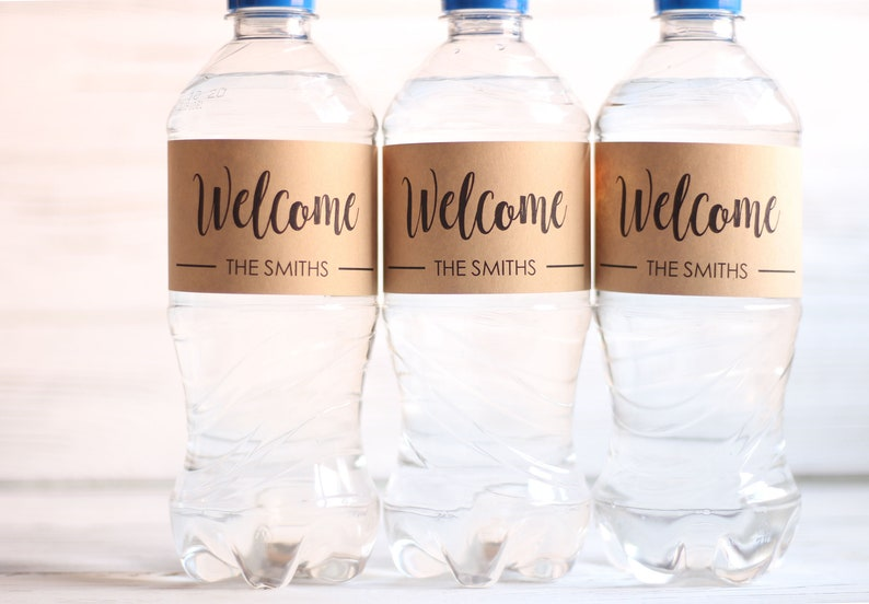 Wedding Water Bottle Labels.Welcome Wedding Welcome Bag Wedding Water Bottle Labels Personalized Favors Rustic Kraft Labels