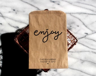 Wedding Popcorn Bags - Enjoy