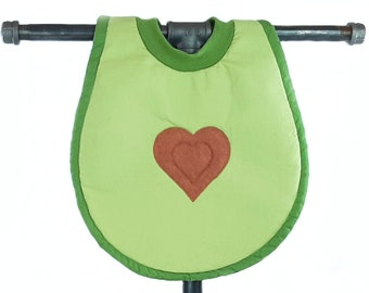Avocado bib - Perfect for picnics and eating toast. Sturdy, absorbent, handmade, and machine washable!