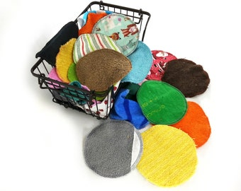 Reusable cotton facial rounds - set of 10 - zero waste makeup remover pad, wet wipe for diaper or nappy bag, unpaper recycled cleaning cloth