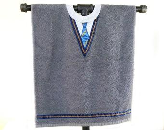 Shirt and Tie bib in school colours - blue and bronze - school uniform jumper / sweater