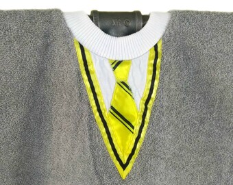 School Jumper bib - yellow and black shirt and tie, grey jumper - very absorbent! Make meals disappear like magic.