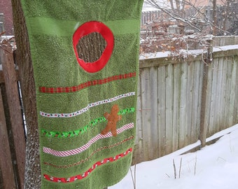 Ugly Holiday Sweater Bib - pullover towel bib with festive decorations, available in red or green