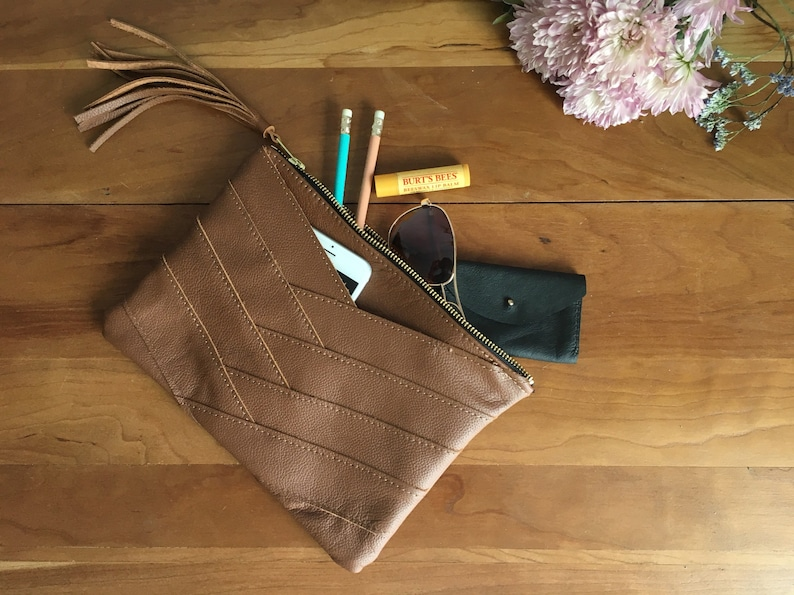 Brown leather herringbone clutch Genuine leather pouch