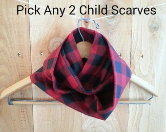 Baby Infinity Scarf, Pick Any 2, Toddler Infinity Scarf, Child Infinity Scarf, Dribble Scarf, Scarf, Cotton Flannel, Gender Neutral