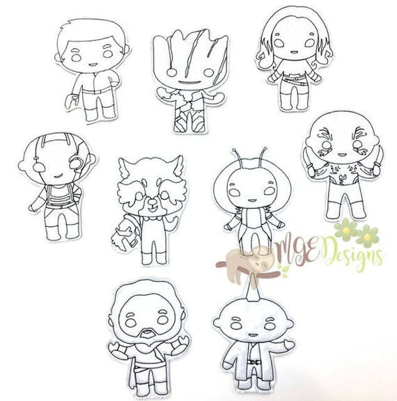 Galaxy Defenders Coloring Doll Machine Embroidery Designs Etsy