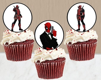 Deadpool Cupcake Toppers - Instant Download - Deadpool Cake Pop Toppers - Deadpool Party - Digital Download - Cupcake Toppers - Merc