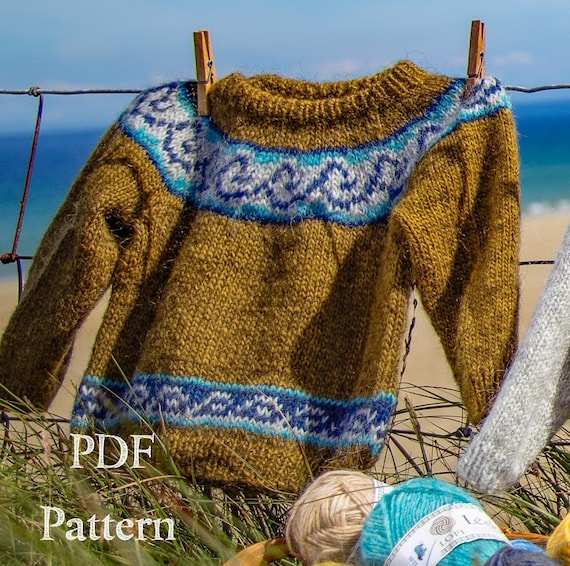 Knitting Pattern Childs Icelandic Sweater Pdf Etsy