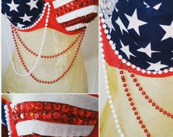 Fourth of July rave bra