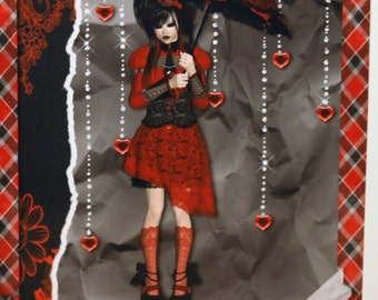 Personalised Emo ~Gothic  Greeting Card .Any Occasion